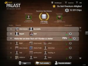 Screen zeigt Spielerliste, die online Skat spielen